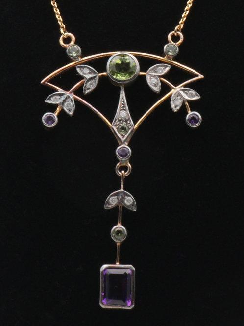 Amethyst, peridot and diamond pendant