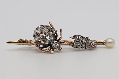 Novelty Victorian spider and fly brooch
