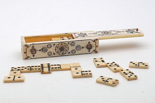 Antique miniature bone dominoes in case