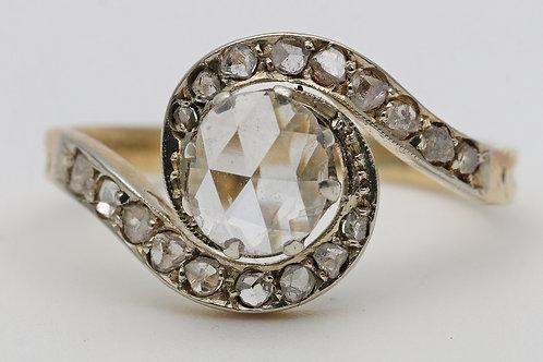 Edwardian Tourbillon set ring with 1ct rose cut diamond