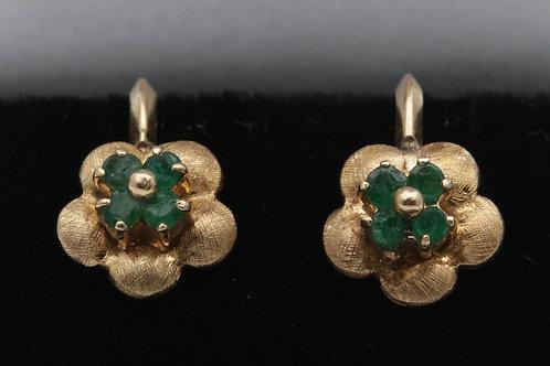 Edwardian gold emerald earrings
