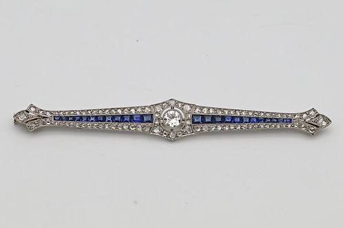 Art Deco platinum, sapphire, diamond brooch