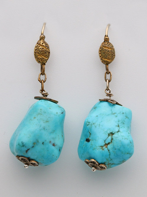 Antique ear rings with large turquoise stones