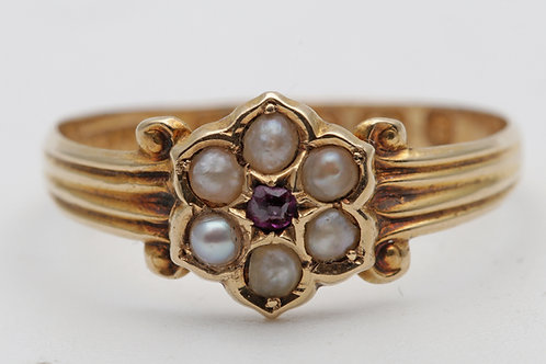 Victorian 15ct pearl and ruby cluster ring