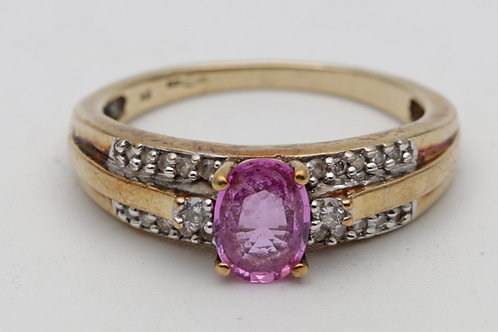 Vintage gold & pink sapphire ring
