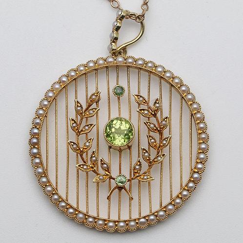 Edwardian 15ct gold peridot, split pearl and demantoid garnet wreath pendant
