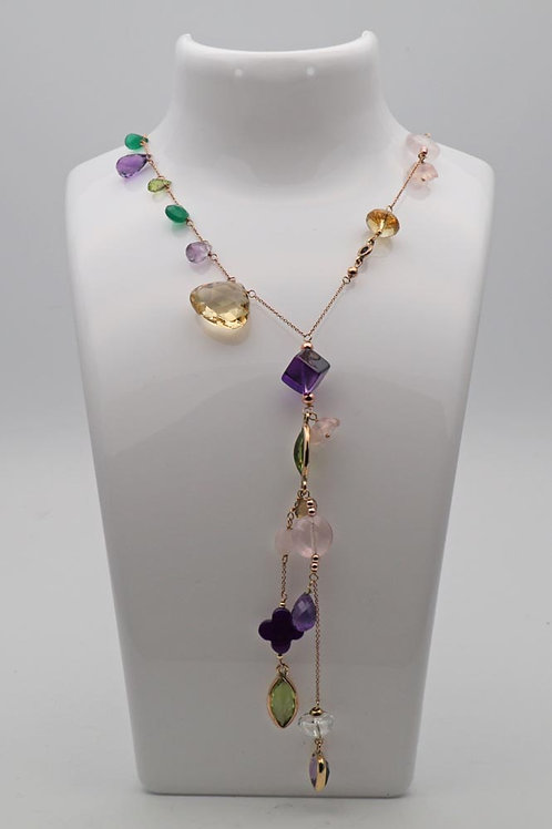Multi gem set necklace