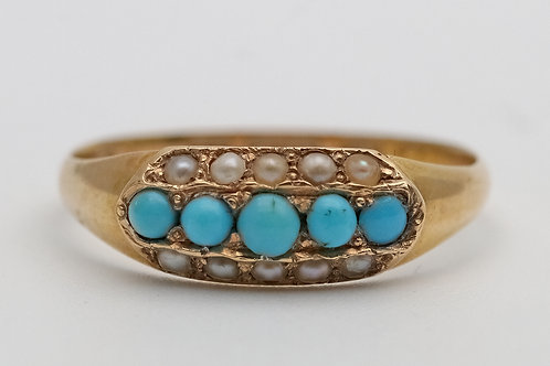 Victorian turquoise and gold ring