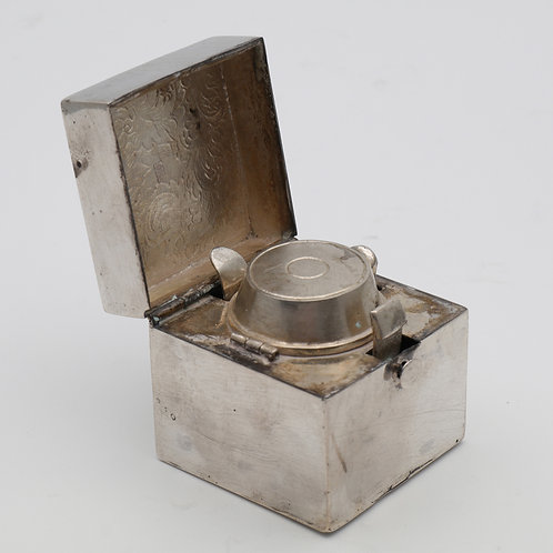 Chinese export silver travelling cube inkwell holder