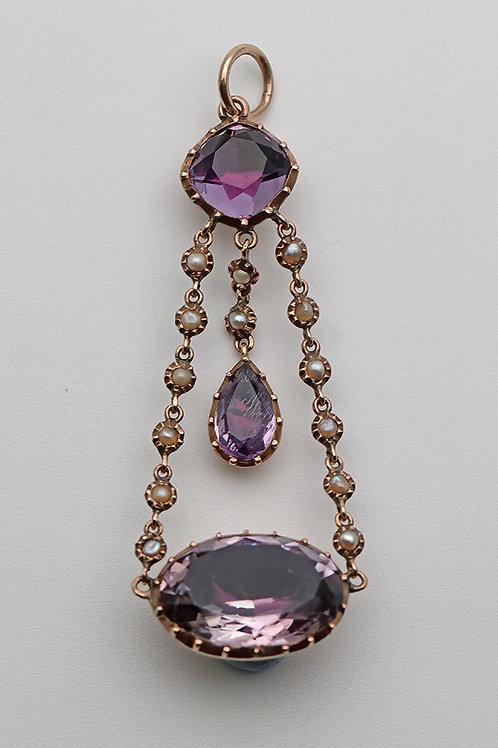 Georgian gold pearl and foiled back pendant