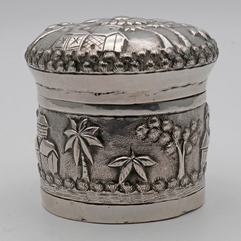 Antique Indian silver tea caddy