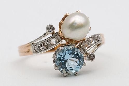 Edwardian 18ct gold and platinum ring
