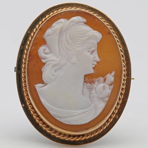 Oval Shell Cameo Brooch or Pendant