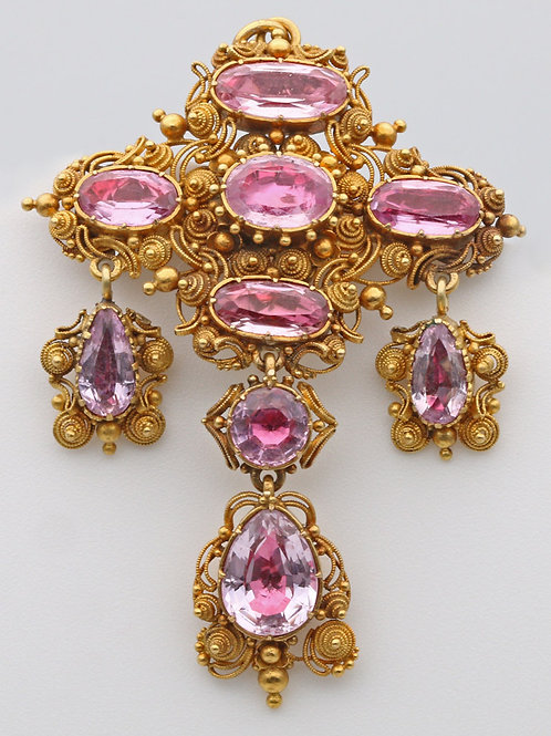 Georgian pink topaz pendant and brooch c. 1830