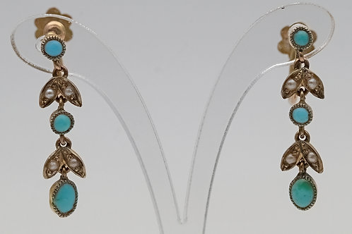 Early 20th century turquoise and split pearl 9ct gold earrings