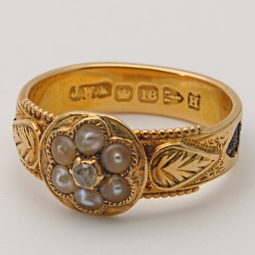 Victorian 18ct gold mourning ring