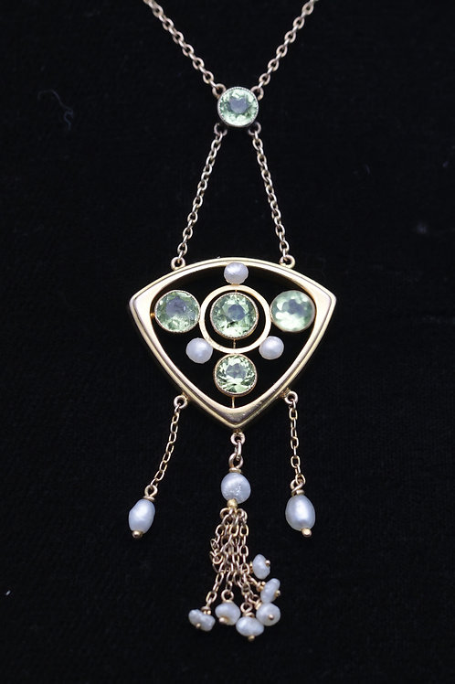 Arts and Crafts peridot and freshwater pearl pendant necklace