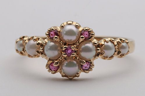 14ct gold split pearl and ruby dress ring