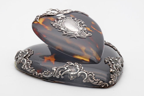 Antique silver and tortoiseshell desk clip