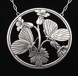 Arno Malinowski Art Deco silver necklace of butterflies
