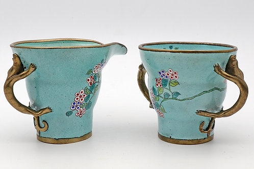 Chinese enamel cup and jug