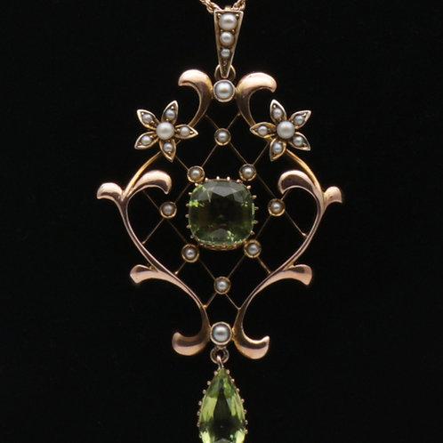 Edwardian 9ct gold peridot and split pearl pendant