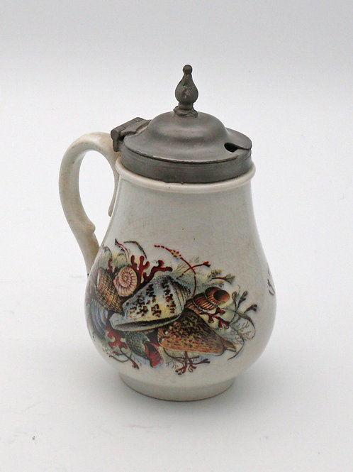 Prattware miniature jug with pewter lid