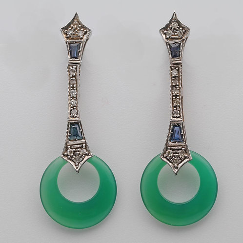 Diamond, Sapphire and Chalcedony Ear Rings