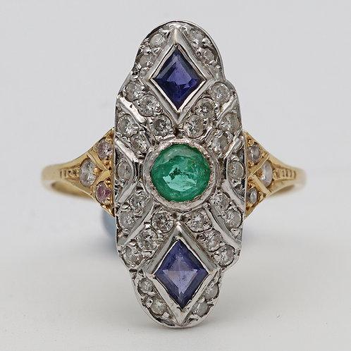 Art Deco sapphire, emerald and diamond cluster ring