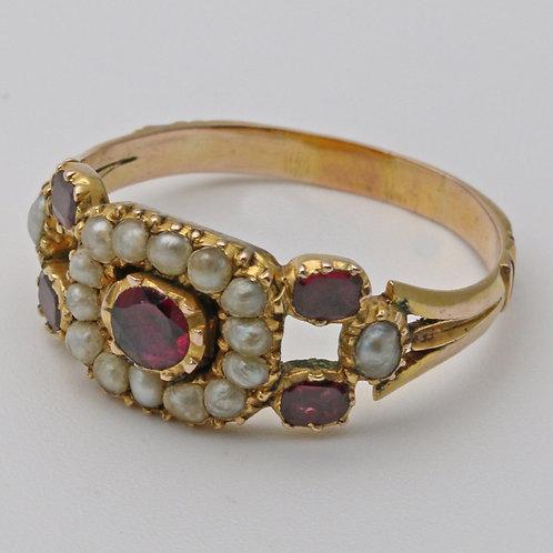 Georgian seed pearl gold ring