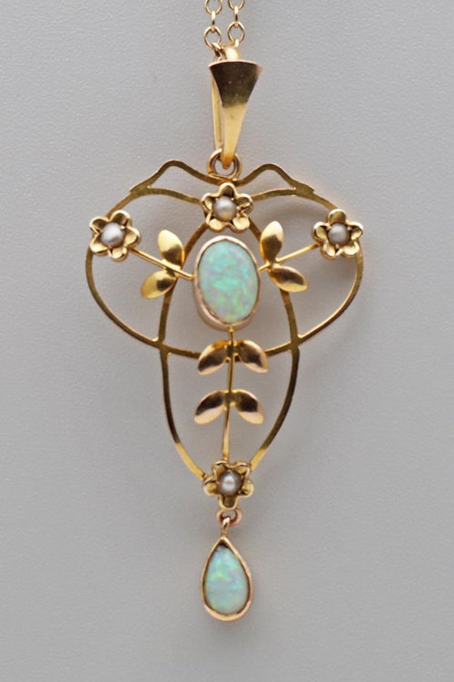 Art Nouveau gold pendant and chain