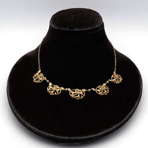 Antique French Art Nouveau Gold Necklace