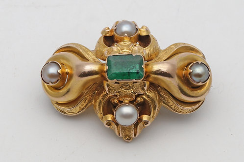 Victorian gold and emerald brooch