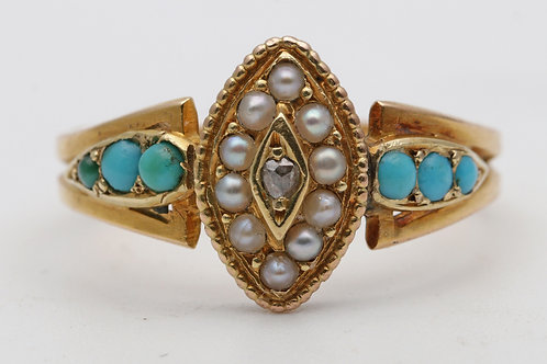 Late victorian gold, turquoise and seed pearl dress ring