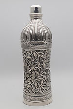 Contemporary silver screw-top bottle handmade in Narlai, Rajasthan,