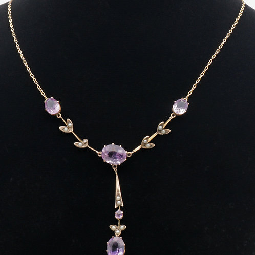 Early 20th century amethyst and split pearl necklace