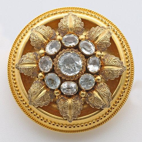 Victorian circular gem set brooch