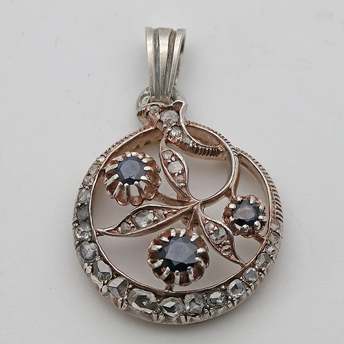 Late 19th century silver and gold sapphire and diamond pendant