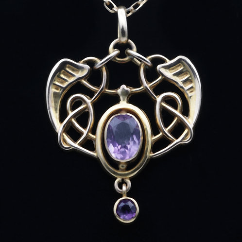Art Nouveau gold and amethyst pendant