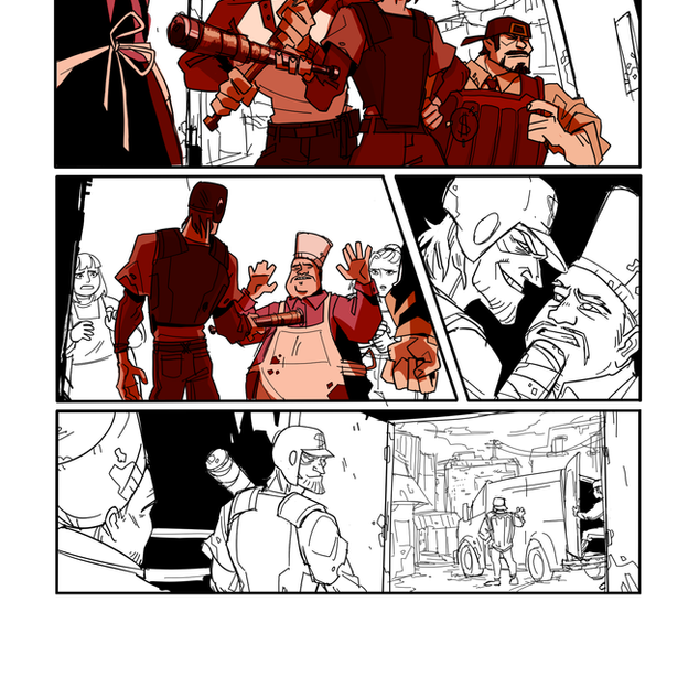 Guttergirl Page 2 Line Art with Colour