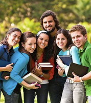 English language course students with their teacher