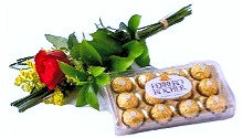 Solitario de rosa nacional + Ferrero Rocher com 12 embalagem acrilico