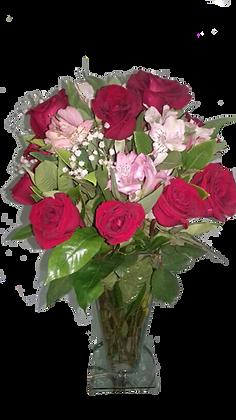 buquet no vaso com 12 rosas nacionais