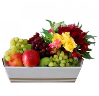 Cesta de frutas e flores