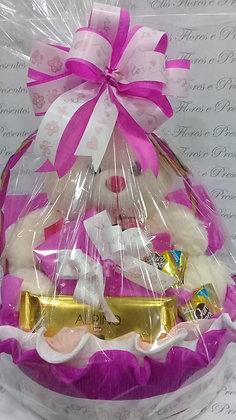 Cesta média cor pink Urso e chocolates barra Alpino 003