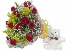 Buquet de rosas com ursinho(diversos)