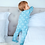 Thumbnail: 100% Organic Cotton Kimono Baby Sleepsuit with Feet in Aquatic Blue
