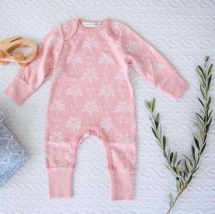 100% Organic Cotton Baby Sleepsuit in Blush Pink