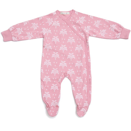 100% Organic Cotton Kimono Baby Sleepsuit with Feet in Blush Pink