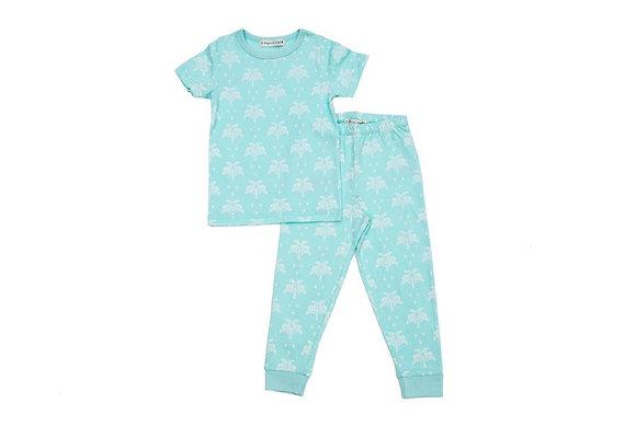 GOTS-Certified Organic Cotton Summer T-Shirt and Long-Leg Pyjama Set - Palms & P
